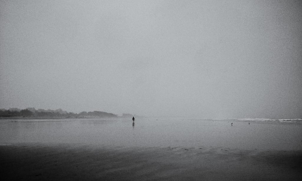 Lone Fisherman Approaches in Rain, Pismo Beach
